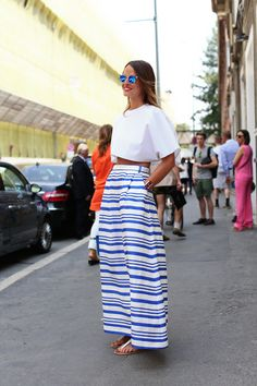 Striped maxi and a crop top - fun for #NYFW