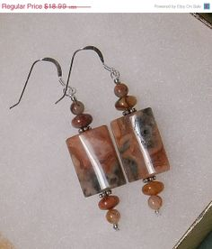 Great Deals Now 925 Sterling Silver Red Crazy Lace Agate Dangle Earrings