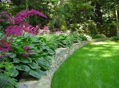 flagstone retaining wall with hostas and alstilbe shade planting. Perfect for sloped back yard or hill with lots of trees.