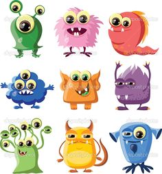 Cartoon cute monsters — Stock Vector © virinaflora #