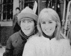 John Lennon and Cynthia Wedding | John and Cynthia Lennon at London airport before a flight to New York ...