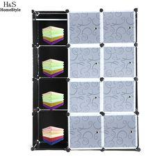 Folding Combination Wardrobe Portable DIY Closet Storage Organizer Wardrobe Clothes Rack With 12 Shelves Black
