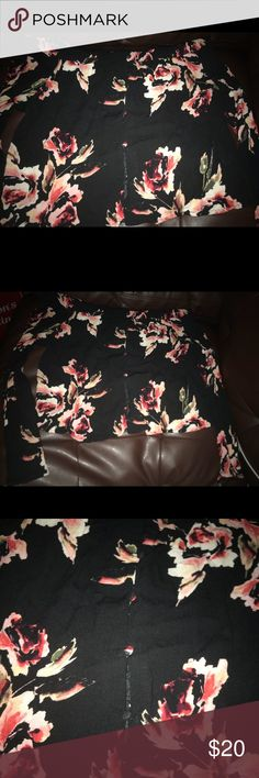 Kendall & Kylie off the shoulder black off the shoulder top with flowers Kendall & Kylie Tops