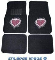 Front & Rear Seat Carpet Floor Mats - Car Truck SUV - Crystal Studded Rhinestone Bling - Sweet Love Heart - Pink