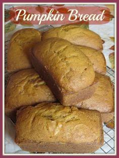 """Pumpkin Bread recipe--makes 2-9""""x5"""" pans or 3-8""""x4"""" pans or a whole bunch of mini-loaves!  Great gift for friends and teachers at Thanksgiving time!"""