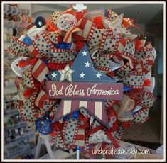 Patriotic Poly Burlap Ruffle Wreath