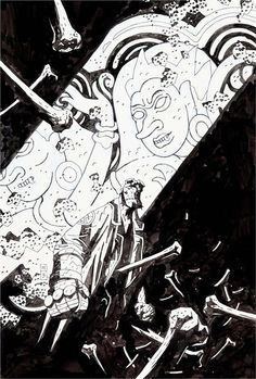 Original cover art by Mike Mignola from Hellboy Premiere Edition, published by Dark Horse Comics and Wizard magazine, Comic Book Artists, Comic Artist, Cover Art, Mike Mignola Art, Ligne Claire, Comic Kunst, Classic Comics, Illustrations, Original Art
