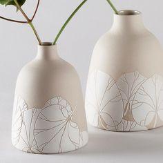 Duo de vases en grès - sgraffitto sur engobe de porcelaine - Barbara Lormelle Ceramics