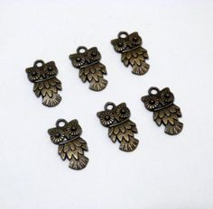 Bronze Owl Charms/Pendants 20mm Set of 6 Jewelry by TheBlueBeadle, $3.25