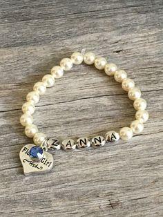 flower girl bracelet personalized flower girl gift by TopsailWinds