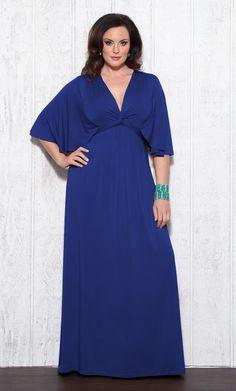 Plus size maxi dress in a gorgeous blue color. #plussize #kiyonna