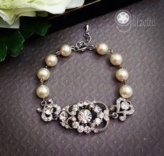Bridal Bracelet Mother of the Bride gift Rhinestone by Glitzette, $48.00