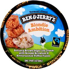 Ben & Jerry's Blondie Ambition™ Ice Cream, 2015 - Available, Pint, Target exclusive. Buttery Brown Sugar Ice Cream with Blonde Brownies & Butterscotch Toffee Flakes. Formerly known as Rockin' Blondies. Blonde Brownies, Bourbon Pecan Pie, Blueberry Ice Cream, Peach Melba, Brownie Ice Cream, Caramel Brown, Ice Cream Flavors, Ben And Jerrys Ice Cream, Cookies And Cream