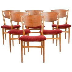 Set of Six Wahl Iversen Danish Dining Chairs for Møbelfabriken Falster, 1954 | From a unique collection of antique and modern dining room chairs at https://www.1stdibs.com/furniture/seating/dining-room-chairs/