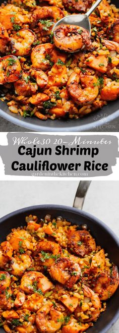 cajun shrimp skillet with cauliflower rice and sweet potato chunks. This meal is perfect for the weekdays! If you want to cook fresh fish in the most delicious way, there are 7 simple but quite effective rules to learn. Cajun Shrimp And Rice, Shrimp And Rice Recipes, Skillet Shrimp, Rice Recipes For Dinner, Easy Chicken Dinner Recipes, Seafood Recipes, Cajun Recipes, Seafood Dishes, Chili Recipes