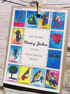 Save The Date Mexican Loteria by JPdesignstudio on Etsy, $35.00...these would be amazing with wedding menus printed on them?we can make ourselves