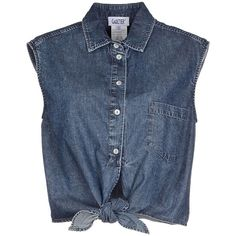 Jean Paul Gaultier Denim Shirt ($190) ❤ liked on Polyvore featuring tops, shirts, crop tops, blouses, blusas, blue, sleeveless denim shirt, denim shirt, no sleeve shirts and blue shirt
