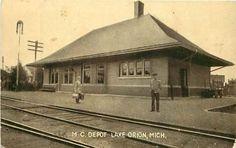Michigan, MI, Lake Orion, M C Depot Early Postcard Train Station Railroad