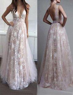 lace long v-neck 2017 prom dress, BD490 #promdress #prom #fashion #shopping #dress #eveningdress