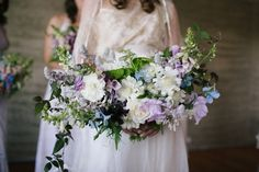 Wide blue / lavender bridal bouquet by Juliet Totten. Photo credit: Alpine Image Co. A Wanaka Wedding (www.wanakawedding.co.nz).