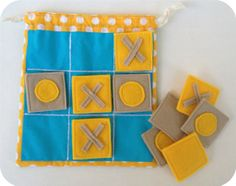 Fabric Tic Tac Toe travel game for kids. Handmade blue by evrettou, $30.30