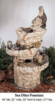 Adorable sea otter fountain!