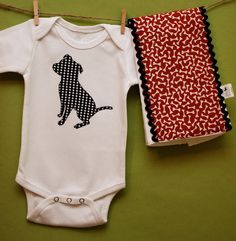 Pit Bull bodysuit and burp cloth gift set in by oliverbludesigns