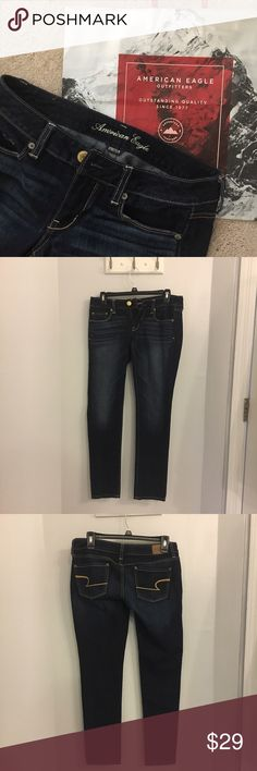 AMERICAN EAGLE dark wash skinny jeans 27 inch inseam and 30 inch waist, size 4 short. Perfect condition, look brand new! American Eagle Outfitters Jeans Skinny