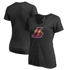 Los Angeles Lakers Fanatics Branded Women's Midnight Mascot Plus Size V-Neck T-Shirt - Black