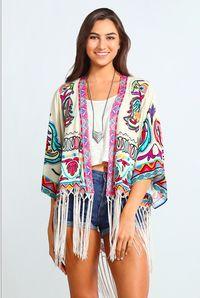 Playa del Carmen Fringe Kimono - Cream/Multi - FINAL SALE