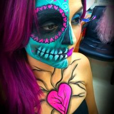 half sugar skull  Halloween make up