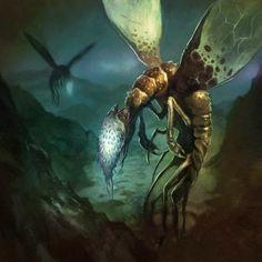 Borja Pindado deviantart ilustrações sombrias terror cósmico lovecraftiano HP Lovecraft mitos Cthulhu - Migo