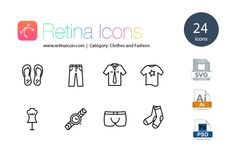 24 Retina Clothes and Fashion Icons by Retina Icons on Creative Market