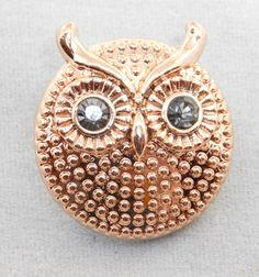 18mm Snap - Gold Owl with silver eyes - metal