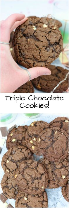 Gooey, Crunchie, Soft and Moreish Triple Chocolate Chip Cookies that are perfect for any Cookie Lover! Student Desserts, Janes Patisserie, Cookie Bakery, Best Chocolate Chip Cookies Recipe, Yummy Cakes, How To Make Cake, Easy Desserts, Sweet Recipes, Healthy Recipes