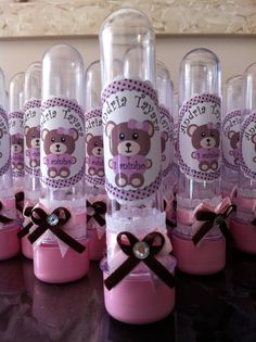 lembrancinha tubete ursinha rosa e marrom