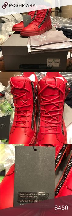 """NIB GIUSEPPE ZANOTTI LONDON RED LEATHER SNEAKERS 9 Giuseppe Zanotti Flame (red) grained leather high-top sneakers are styled with double silvertone industrial zippers.   1.25""""/30mm midsole (approximately). Rounded toe. Logo-debossed leather patch at padded tongue. Pull tab at padded collar. Raised logo at midsole. White coated round laces.  Lace-up style. Back and side zip closures. Lined with leather. Rubber waffle sole. Available in Flame (Red). Made in Italy. Giuseppe Zanotti Shoes…"""