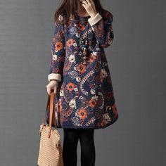 Women Winter Dress Casual Loose Women's Clothing Printing Dresses Vestidos Thick Cotton Sweatshirts Dress O-Neck Tops C1659 #Affiliate
