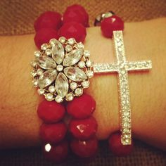 Vintage Inspired Rhinestone Flower Bracelet with by AroundMyWrist, $22.00