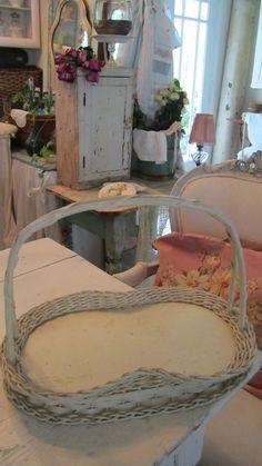 Handwoven shabby chic white basket by Vintagewhitecottage on Etsy, $95.00