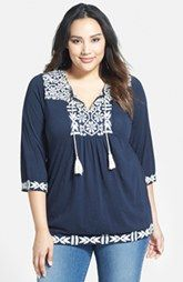 Lucky Brand Embroidered Split Neck Top (Plus Size)