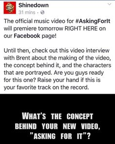 Via @Shinedown: The official music video for #AskingForIt will...