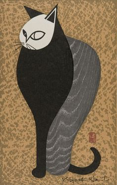 """""""Black and Grey Cat"""", n.d., Kiyoshi Saito, Japanese (1907-1997), woodblock print on paper, 16 x 11 in. Gift of Dr. Lenoir C. Wright, 1987. 1987.3948"""