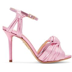 Charlotte Olympia Pink Broadway 95 Sandals ($325) ❤ liked on Polyvore featuring shoes, sandals, round toe shoes, pink stilettos, pink shoes, pink metallic shoes and high heel stilettos