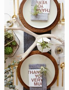 A Modern Organic Thanksgiving Table ~ Craft and Couture.  Those cards are from target.