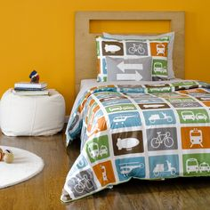 "Transportation bedding- perfect for a boy's ""big boy"" room :)"