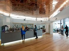 University of Warwick Student Union by MJP Architects Arch Interior, Interior Architecture, Interior Design, Ny Loft, University Of Warwick, Feature Wall Design, Students' Union, Ceiling Panels, Ceiling Tiles