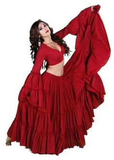 Belly Dance Tribal Cotton 25 Yard Skirt | Fiery Frills, Red, Fiery Frills...This is the ultimate belly dance skirt perfect for American Tribal Style, Fusion and basic belly dance. Great piece for dancers of all levels including professionals. Full skirt spins o..., #Apparel, #Women