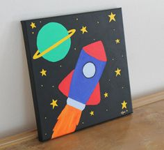 Canvas Art, children's room, kid's room decor, wall art: Rocket ship space painting