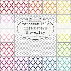 Moroccan Tile BRIGHT outline (free papers) by melstampz.blogspot.com